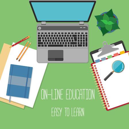 Plat ontwerp concept voor online onderwijs. Concepten voor web banners. Stock Illustratie