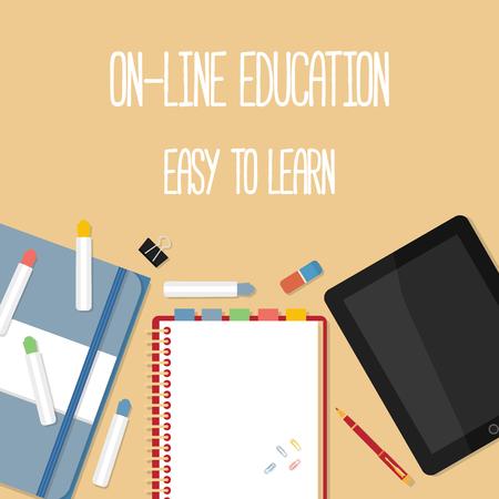 Concepto de dise�o Piso en la educaci�n en l�nea. Conceptos para la web banners.