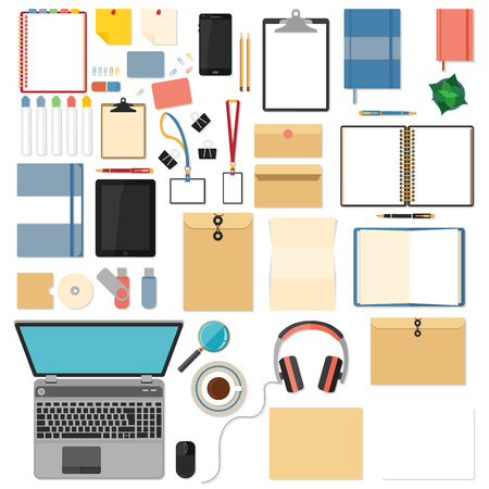 mouse pad: Big set of flat design items for business and graphic. Flat mockups for website design, infographics, web and mobile services and apps.