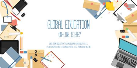 Concepto de diseño Piso en la educación en línea. Conceptos para la web banners.