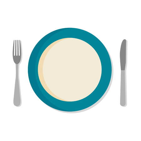 dinner plate: Flat design set with a fork, knife and dinner plate, isolated on a white background.