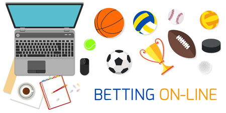 Concept for web banner sports betting statistics isolated on white. Flat design icons for sports theme.