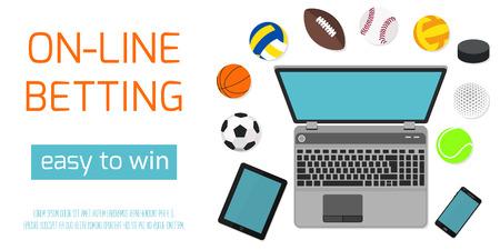 Concept voor web banner sportweddenschappen statistieken. Platte design iconen voor sport thema.
