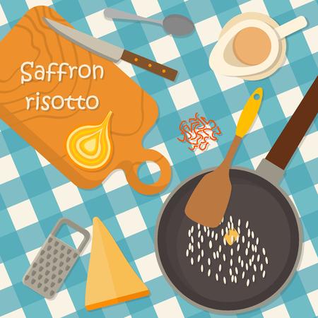 Dise�o plano Bandera de la plaza de la cocina tradicional italiana, receta risotto. Puede ser tambi�n utilizado para ilustrar un blog de comida, el men� del restaurante, libros de cocina cubierta.