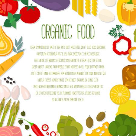 Dise�o plano alimentaci�n saludable concepto vectorial con copyspace. Dieta italiana y la plantilla de alimentos org�nicos. Vectores