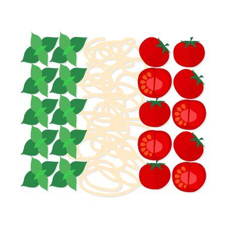 İtalyan geleneksel mutfağı, İtalyan bayrağının renkleri düz tasarım sembolü. Çok iyi bir gıda blog, restoranın menü, kapak yemek kitapları göstermek için kullanılabilir.