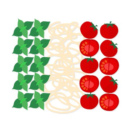 Flat design symbol of Italian traditional cuisine, colors of italian flag.  It may be well used to illustrate a food blog, the restaurants menu, cover cookbooks. Illustration