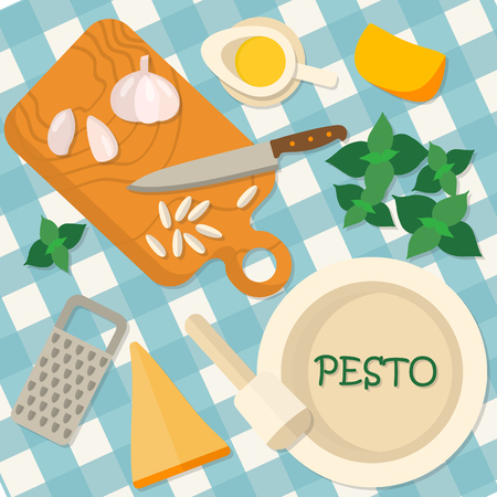 italian food: Flat design square banner of Italian traditional cuisine, pesto recipe. It may be well used to illustrate a food blog, the restaurants menu, cover cookbooks. Illustration