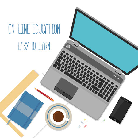 online education: Flat design concept for online education. Concepts for web banners.