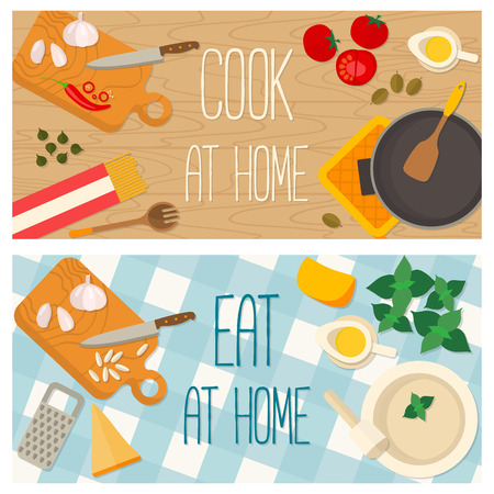 mediterranean homes: Flat design food and cooking banner of Italian traditional cuisine, pasta recipe. It may be well used to illustrate a food blog, the restaurants menu, cover cookbooks. Illustration