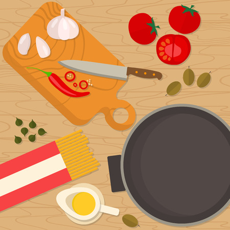 ingredients: Flat design square banner of Italian traditional cuisine, pasta recipe. It may be well used to illustrate a food blog, the restaurants menu, cover cookbooks. Illustration