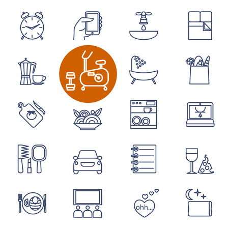 Conjunto de iconos del vector esquema de artículos de compra, deportes y estilo de vida