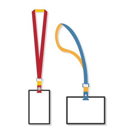 Template, flat design of lanyard end badge isolated on white. Vector illustration. Illustration