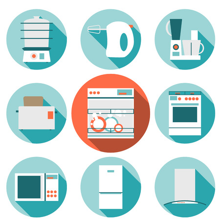 food processor: Big set  modern flat design icons of kitchen appliances with long shadow. Illustration