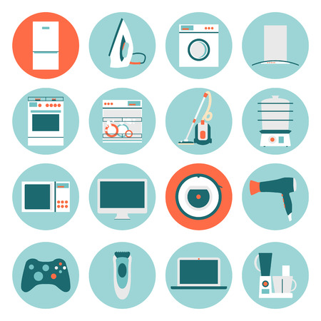 Flat design icons of home appliances. Vector illustration.