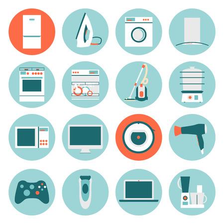 Iconos del diseño planas de los aparatos electrodomésticos. Ilustración del vector.