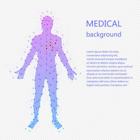 Antecedentes médicos. Modelo abstracto del hombre con puntos y líneas. Vector de fondo. Anatomía humana
