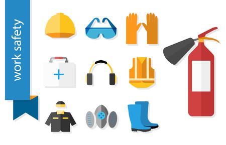 elementos de protecci�n personal: Conjunto de iconos planos para el trabajo de seguridad. Ilustraci�n del vector.
