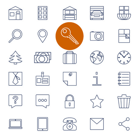 car for sale: Set of outline icons for real estate sale. Vector illustration.