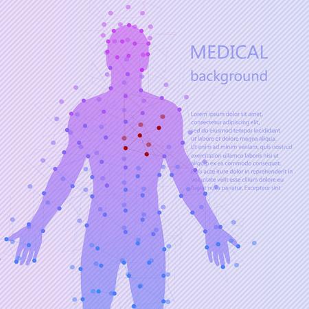 Antecedentes m�dicos. Modelo abstracto del hombre con puntos y l�neas. Vector de fondo. Anatom�a humana