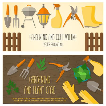 원예: Flat design banner for gardening and horticulture with garden tools and accessories. 일러스트