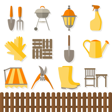 garden design: Flat design set of gardening tool icons isolated on white background.