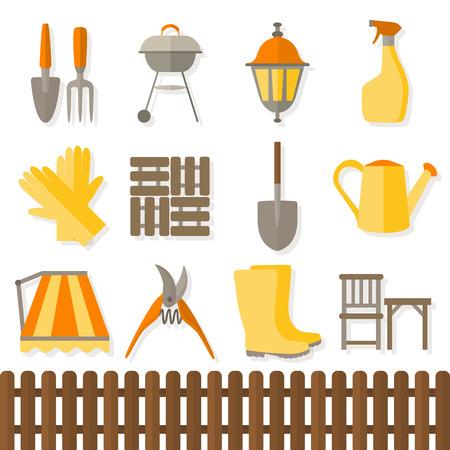 pesticida: Set Dise�o plano de iconos de herramientas de jardiner�a aislados sobre fondo blanco.