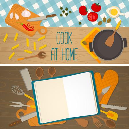 Platte ontwerp voedsel en koken banner van Italiaanse traditionele gerechten op geruit tafelkleed. Het kookboek concept. Vector illustratie. Stock Illustratie