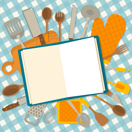 Flat design banner of kitchenware isolated on checkered tablecloth. The cookbook concept. Vector illustration. Stock Illustratie