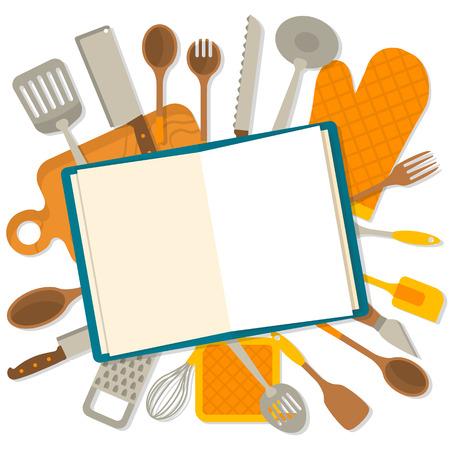 Bandera Diseño plano de utensilios de cocina aisladas sobre fondo blanco. El concepto de libros de cocina. Ilustración del vector.