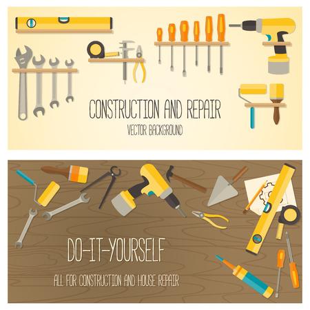 Bandera concepto Web de la tienda de bricolaje. Vector diseño plano de fondo con herramientas de construcción y kit de reparación de su casa. Ilustración de vector