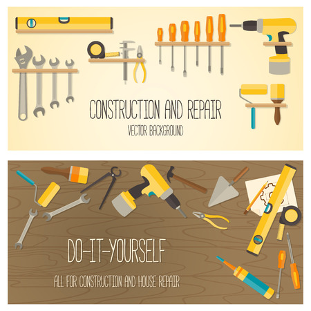 Web banner concept of DIY shop. Vector flat design background with construction tools and home repair kit. Ilustração