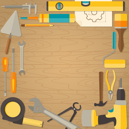 doityourself: Vector flat design background with do-it-yourself tools for construction and home repair on wooden surface. Web banner concept
