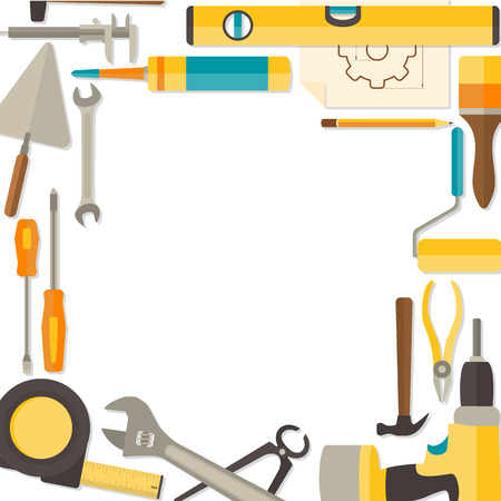 doityourself: Vector flat design background with do-it-yourself tools for construction and home repair isolated on white. Web banner concept Illustration