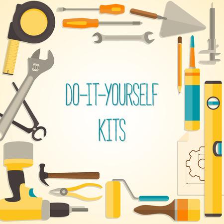 Vector plana dise�o de fondo con do-it-yourself herramientas para la construcci�n y reparaci�n de viviendas. Bandera concepto Web Vectores