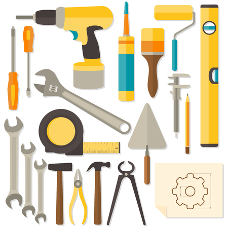 design tools: Vector flat design DIY and home renovation tools isolated on white background. Illustration