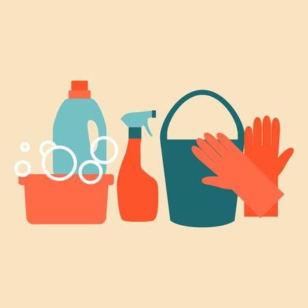 Platte ontwerp pictogrammen instellen voor het schoonmaken en het huishouden. Stock Illustratie