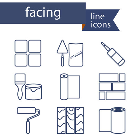 Set of line icons for DIY, finishing materials. Vector illustration. Vectores