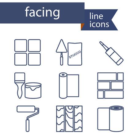 Conjunto de iconos de línea para bricolaje, materiales de acabado. Ilustración del vector. Vectores