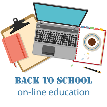 teacher and student: Back to school background. Concept of banner for online education with flat designed objects isolated on white.