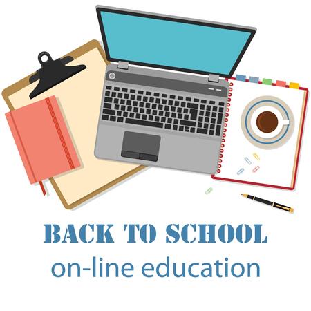 profesor alumno: Volver a la escuela de fondo. Concepto de bandera para la educación en línea con objetos planos diseñados aislados en blanco.