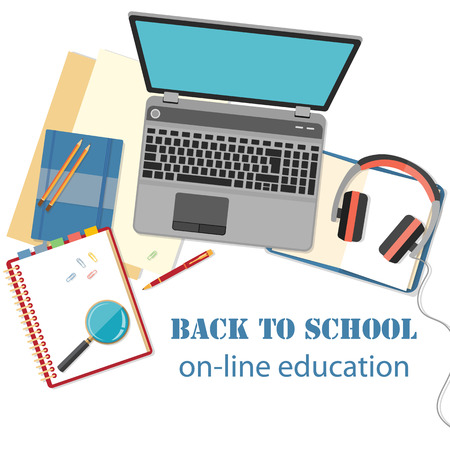 online book: Back to school background. Concept of banner for online education with flat designed objects isolated on white.