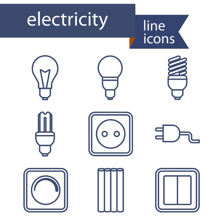 electrician with tools: Set of line icons for DIY, electricity tools. Vector illustration.