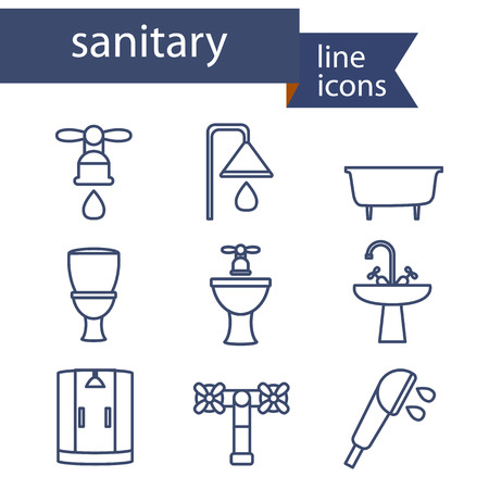 sanitary engineering: Set of line icons for DIY, sanitary engineering. Vector illustration. Illustration
