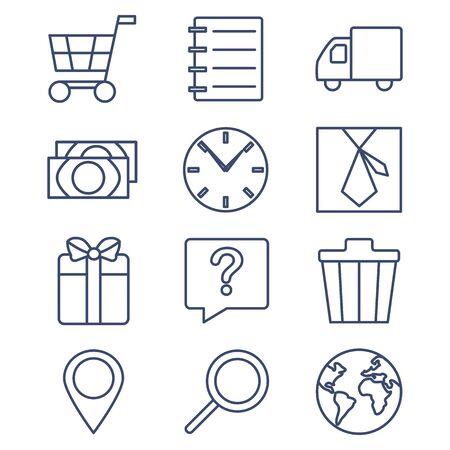 web shopping: Set of line icons for shopping, e-commerce. Vector illustration.