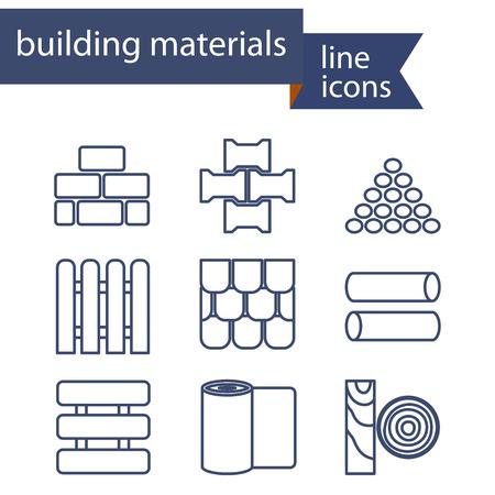 materiali edili: Set di icone di linea per materiali fai da te, costruzione, edificio. Illustrazione vettoriale. Vettoriali