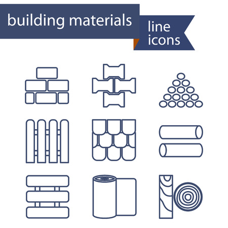 log wall: Set of line icons for DIY, construction, building materials. Vector illustration.