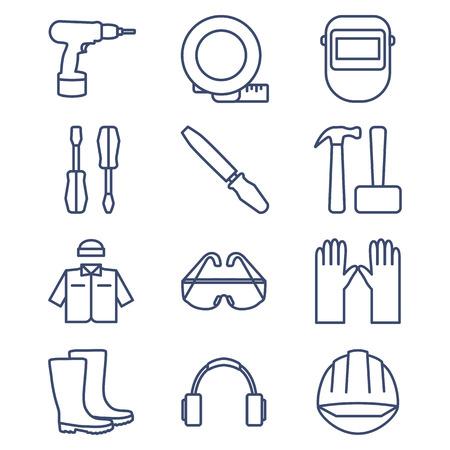 soldadura: Conjunto de iconos de línea para bricolaje, herramientas y ropa de trabajo. Ilustración del vector. Vectores