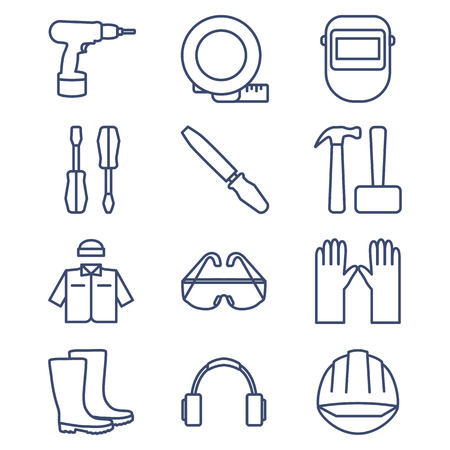 Set of line icons for DIY, tools and work clothes. Vector illustration.
