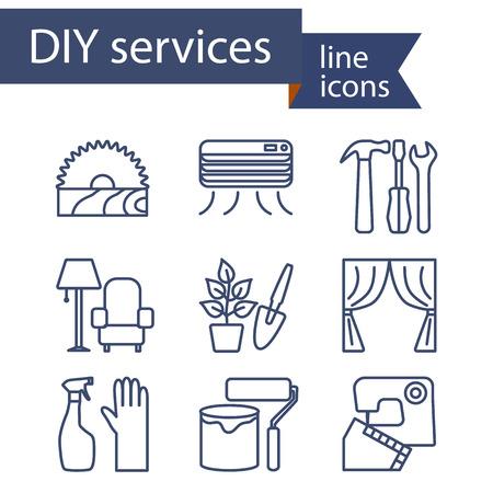 Conjunto de iconos de líneas para los servicios de bricolaje. Ilustración del vector. Vectores